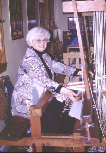 Sigrid weaving at Anni Alber's Loom